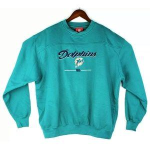 NFL Miami Dolphins Pullover Crewneck Sweater Aqua
